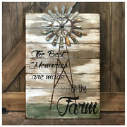 Farmhouse Decor Best Memories Are Made On The Farm Wood Sign W/ Windmill 14x20
