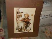 Vintage Beautiful Hummel Lithograph Signed Print Little Bookkeeper H202