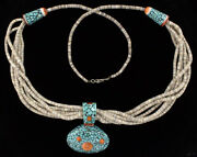 6-strand Heishi Necklace With Inlaid Turquoise And Orange Spiny Oyster Shell