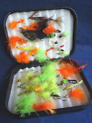 A Good Vintage Wheatley Trout Fly Fishing Box And Flies/lures