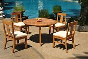 Dsos A-grade Teak 5pc Dining Set 52 Round Table 4 Armless Chair Outdoor Patio