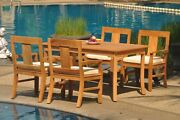 Dsos A-grade Teak 5pc Dining Set 60 Rectangle Table 4 Arm Chair Outdoor Patio