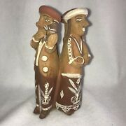 Hand Made Peruvian Andes Indian Couples Clay Pottery Sculpture 8 H