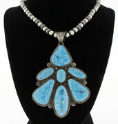 Silver Bead Necklace With High Grade Natural Birdseye Kingman Turquoise Pendant