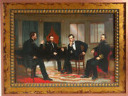 George Healy Peacemakers Sherman And Grant And Abe Lincoln Framed Canvas Transfer