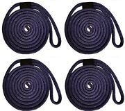 Double Braid Nylon Dock Line - 5/8 X 25and039 / 4-pack Non-fading - Navy Usa Made