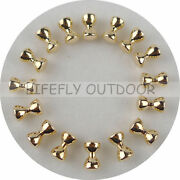 Gold Color 300 Convex Brass Dumbbell Beads Assortment, Barbell Eyes, Fly Tying