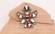 Antique Zuni Knifewing Inlaid Pin With Unusual Braided Silver 3 X 2 1/2