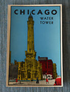 Original Vintage Travel Decal Chicago Water Tower Illinois Post Card Old Auto Rv