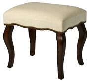 Small Wood Vanity Stool Carved Upholstered Footstool Bench Seat Chair Padded New