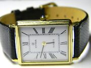 Mens Cyma 14k Solid Gold Rectangular Tank Roman Numeral White Face Dress Watch