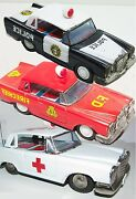 Vintage Tin Friction Car Mercedes Benz 3 Piece Emergency Set 6' Inch Examples