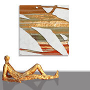 Abstract Painting Picture Modern Textured Gold Canvas Art Wall Framed 43 X 43