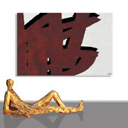 Abstract Painting Picture Modern Textured Gold Canvas Art Wall Framed 55 X 40