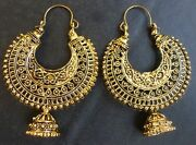 Antique Gold Plated Indian 4 Cm Vintage Half Circle Earrings Jhumka Set