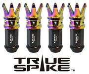 24 True Spike 89mm Forged Steel Lug Nuts Neo Chrome Crown Spikes For Ford Raptor
