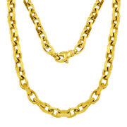 Menand039s 14k Yellow Gold Handmade Fashion Link Necklace 22 5.4mm 42.7 Grams