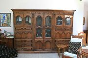 Andnbspmahogany Crystal Hutch And Bookcase Combo With Two Leather Fold Down Desks