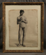 Beautiful Athletic Nude Man American Black And White Charcoal Early 20 Century