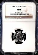 1964 Proof Roosevelt Dime Pointed 9 Variety Graded Pf 69 By Ngc