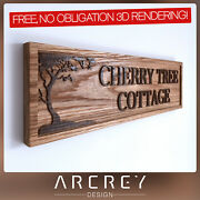Personalised Oak Address Sign Custom Engraved Outdoor Wooden Name House Plaque