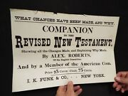 1881 Revised Version Of The Bible - Advertising Broadside - 11 X 17