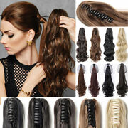 Thick Clip In Pony Tail Wavy Human Hair Claw Clip On High Ponytail Extensions
