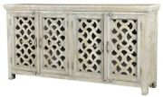 80 Long Clementina Sideboard Cabinet Wood Four Door Antique White Finish