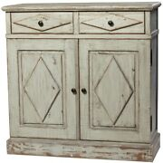 46 Umberto Cabinet Reclaimed Wood Antique White Finish Two Drawer Two Door