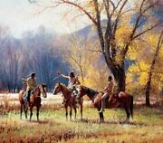 Teller Of Tales By Martin Grelle Native American Indian Western Horses 38x43
