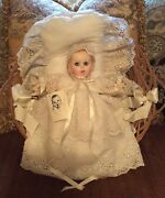 Gerber Baby Doll In Christening Gown W/ Basket, Bedding Tags Vintage