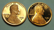 1981-s Proof Lincoln Cent Type 2 Clear And039sand039 Type 1 Filled And039sand039 Deep Cameo Coin Set