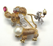 Gorgeous Vintage 14k Two Tone Gold Ruby, Pearl And Diamond Poddle Dog Brooch E