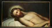 Jesus Christ Dead In Bead 19th Century Continental School Oil Painting