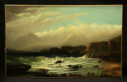 Antique Painting Seascape Ocean And Mountain Seen With Shipwreck