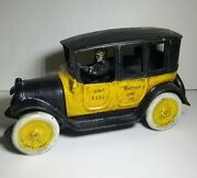 Vintage Arcade Reproduction Cast Iron Yellow Cab Taxi With Driver 9 Inches