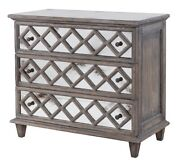 37 L Facino Side Dresser Light Grey Solid Wood Antiqued Pearl Mirror Fronts