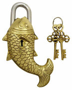 Vintage Brass Antique Fish Padlock Solid Look Home Security Collectible Locks