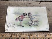 Antique Easter Greetings Postcard Made In Germany Silver Outline Sheep Boy And