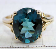 R080 Genuine 9ct 10k 18k Solid Gold Large London Blue Topaz Ring Oval Solitaire