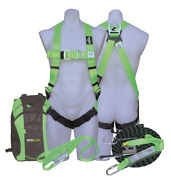 Protecta Roof Workers Kit 15m Kernmantle Rope Harness Anchor Strap And Bag Green