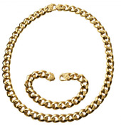 Stainless Steel Goldtone Foxtail Chain Necklace - 24 And Bracelet 9 Set