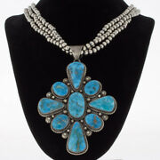 Sterling Silver Bead Necklace With Natural Blue Ridge Turquoise Cluster Pendant