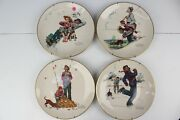 Norman Rockwell Four Seasons Series Plates With Wall Mounts Set Of 4 1974
