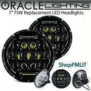 Oracle 7 Sealed Beam 75w Replacement Led Round Headlights - Black Bezel