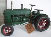Tin Plate Model Of A Classic Transport Green Tractor /ornament /gift Red/wheels