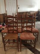 5 Antique Ladderback Dinning Chairs In Great Condition