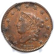 1822 N-1 R-3 Pcgs Ms 63 Bn Matron Or Coronet Head Large Cent Coin 1c