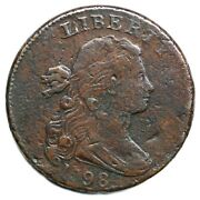 1798 S-183 R-5 2nd Hair Small 8 Draped Bust Large Cent Coin 1c