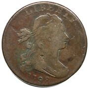 1798 S-185 R-2 2nd Hair Small 8 Low 9 Draped Bust Large Cent Coin 1c
